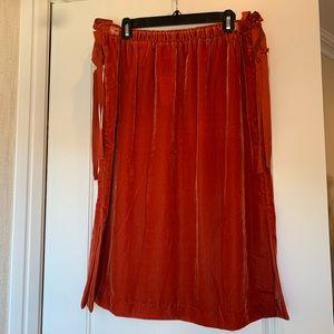 H&M Orange Velvet Skirt